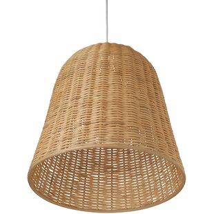 Elegant Kira 1 Light Wicker Bell Pendant Lamp