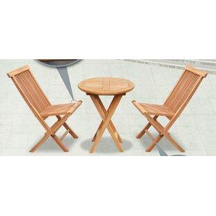 Alcott Hill Lotus Patio Round Wood Table Folding Chairs 3 Piece Teak Bistro Set