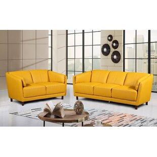 Govan Modern Mid-Century 2 Piece Leather Living Room Set