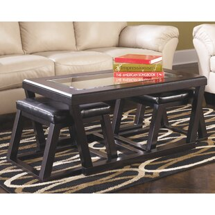 Latitude Run Parodi Coffee Table with 2 Nested Stool