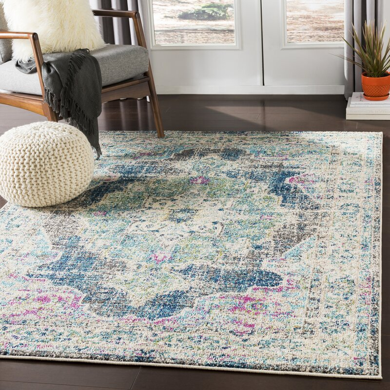 Bungalow Rose Amanah Power Loom Green Gray Rug Reviews Wayfair