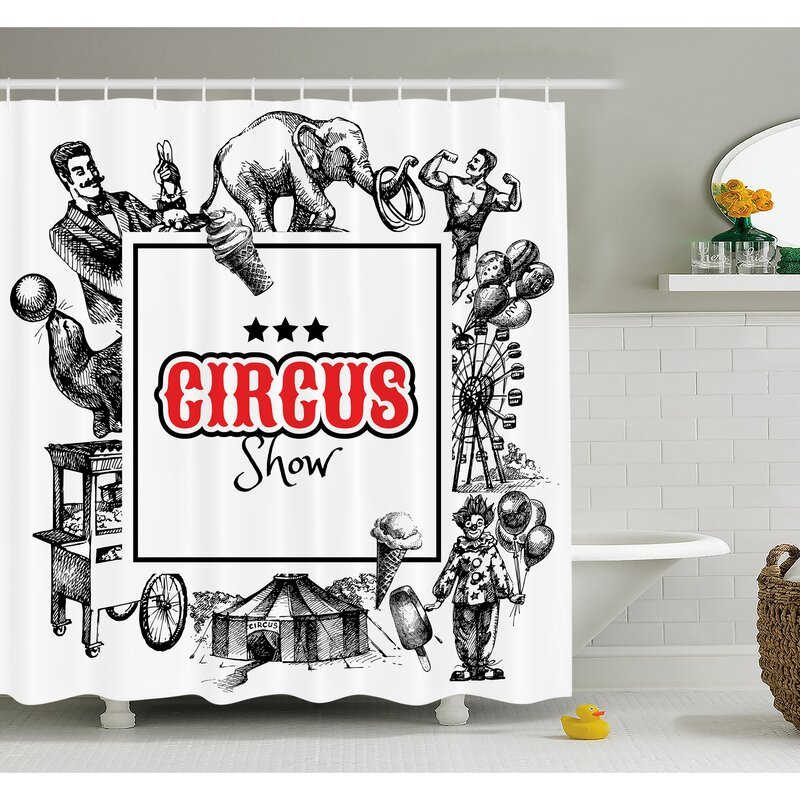 Circus Show Logo With Magician Elephant Creepy Tricks Performance Sketchy Art Shower Curtain Set