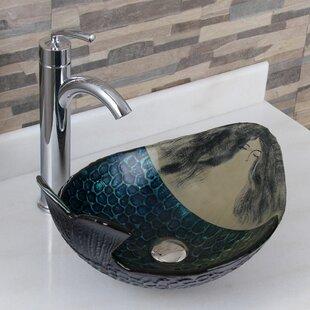 Elimaxs Elite Glass Oval Vessel Bathroom Sink