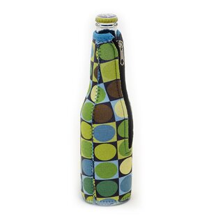 Neoprene Circles and Squares Beer Bottle Jacket with Zipper