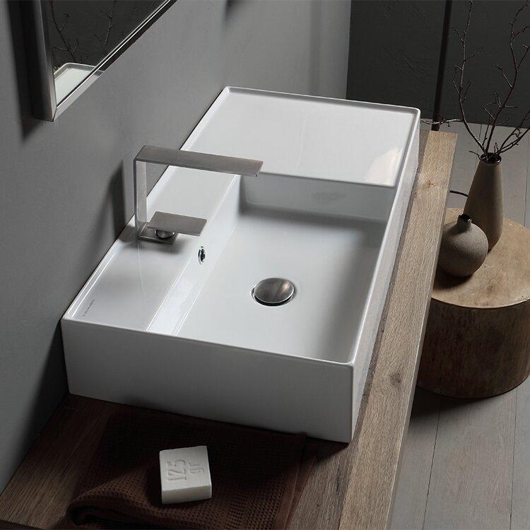 Scarabeo By Nameeks Teorema Ceramic Rectangular Vessel Bathroom Sink With Overflow Reviews Wayfair