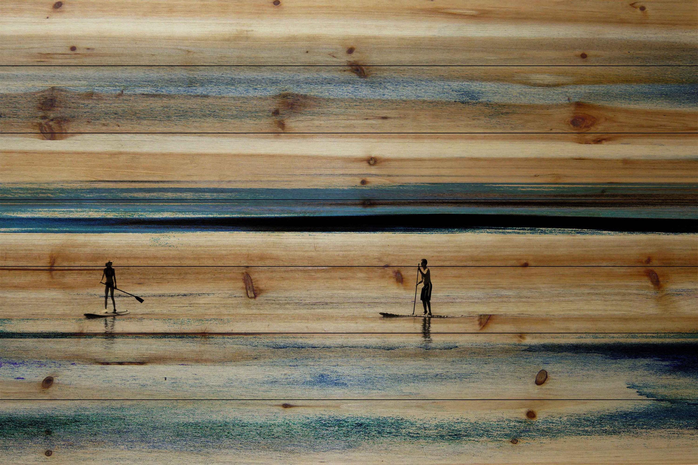 'Surfboard Paddling' by Parvez Taj Painting Print on Natural Pine Wood