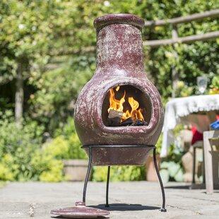 Free Shipping Bethany Clay Wood Burning Chiminea