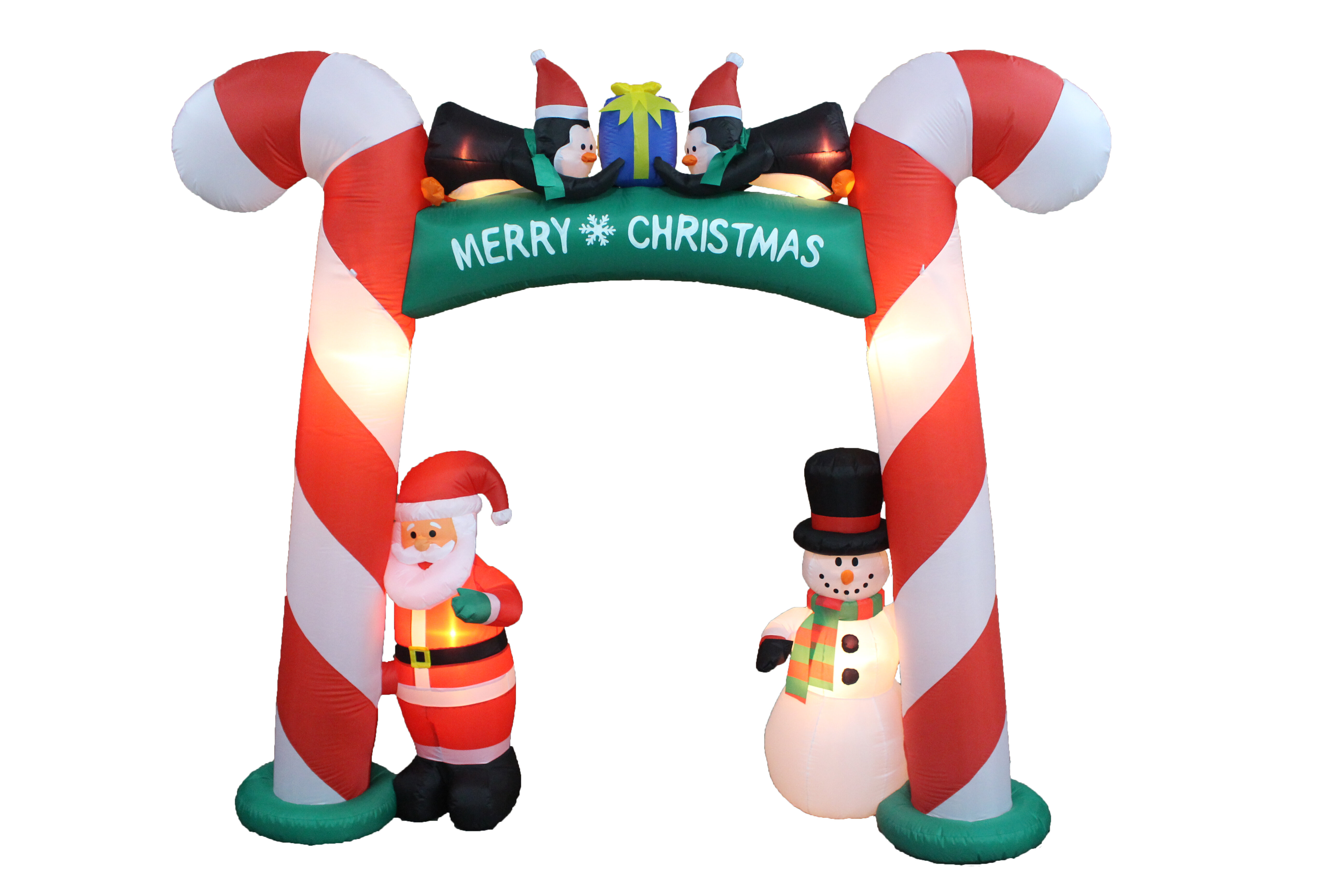 the holiday aisle christmas inflatable candy cane arch with santa snowman and penguins reviews wayfair - Inflatable Christmas