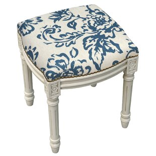 One Allium Way Amalda Toile Linen Upholstered Vanity Stool with Nailhead