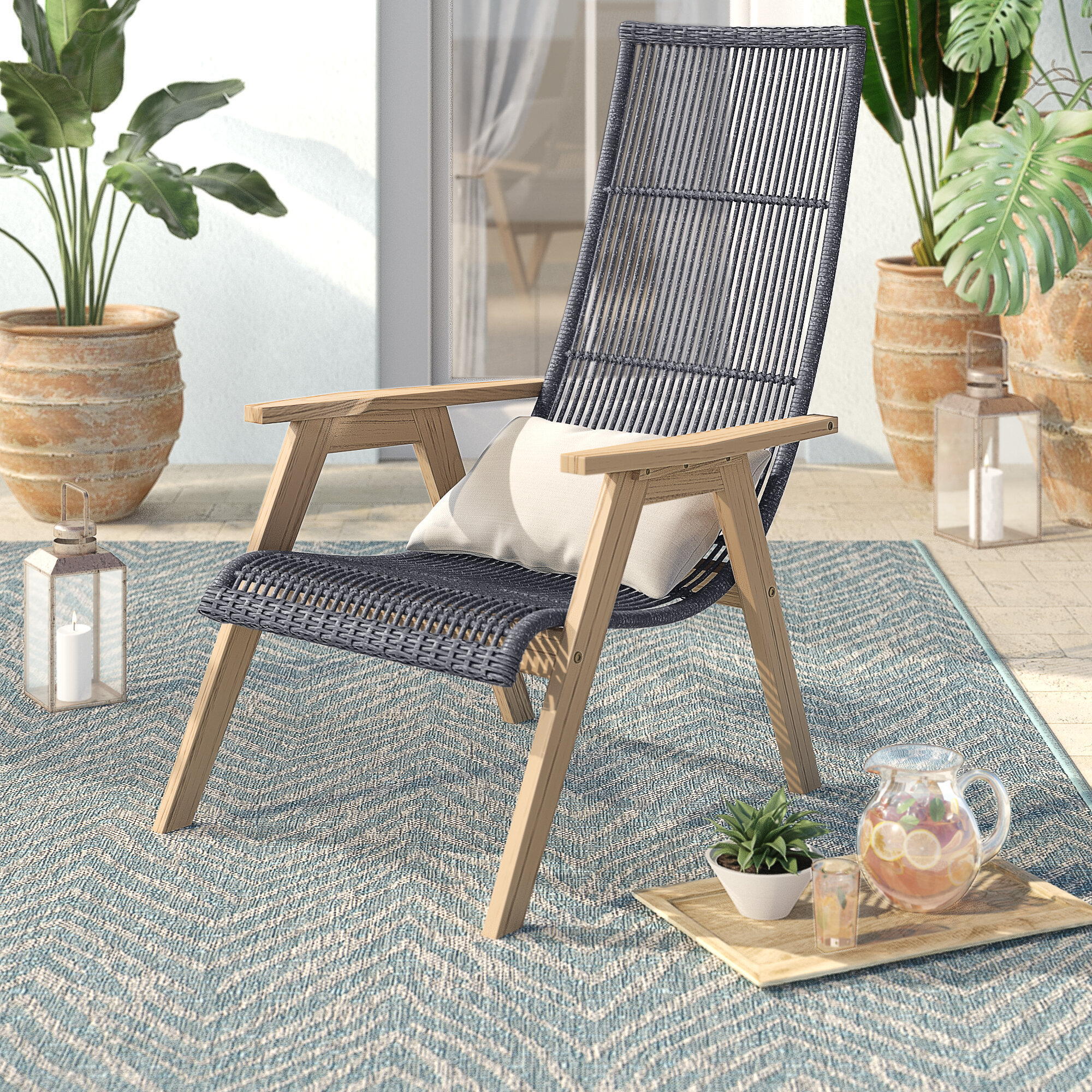 Birch Lane Doraville Teak Patio Chair With Cushions Reviews Wayfair