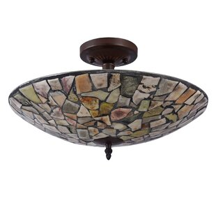 Hennig Mosaic 2-Light Semi Flush Mount by Highland Dunes