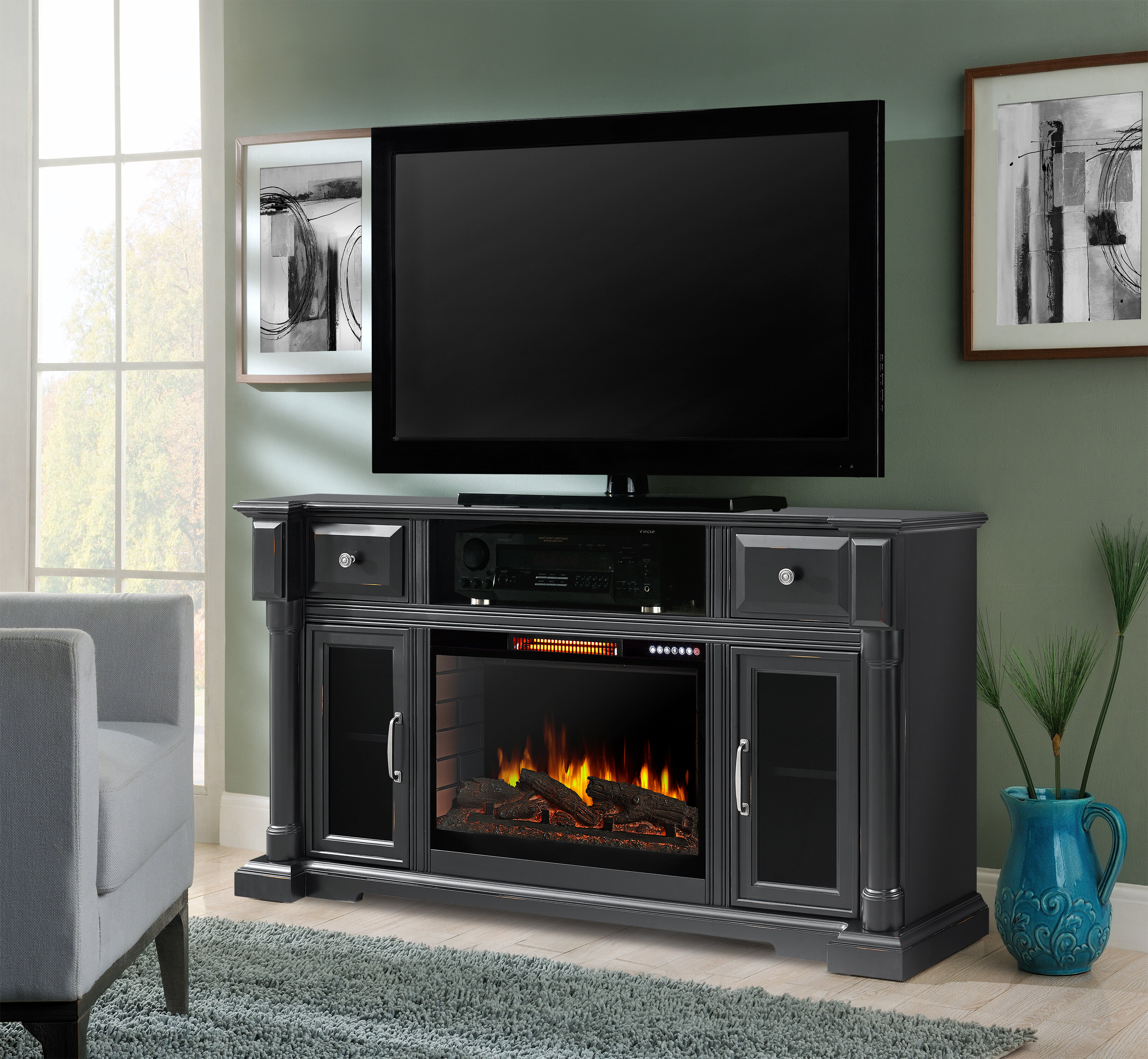 Muskoka Vermont Tv Stand For Tvs Up To 65 With Electric Fireplace Included Reviews Wayfair Ca