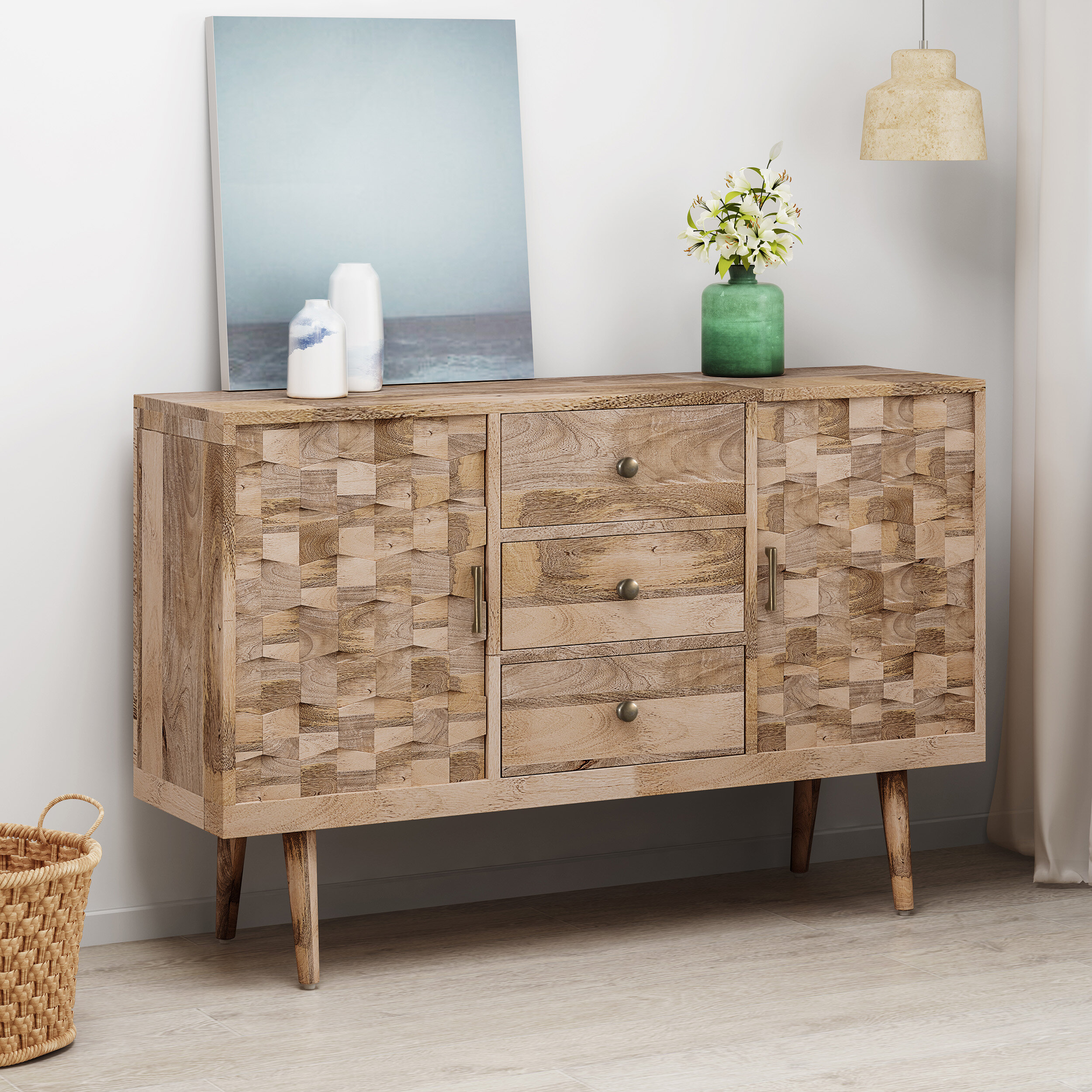 Westra Mid-Century Modern Mango Wood 3 Drawer Sideboard on consoles and credenzas, made in usa modern credenzas, modern sideboards with sliding door, country style credenzas, industrial modern credenzas, post modern credenzas, modern sideboards and hutches,