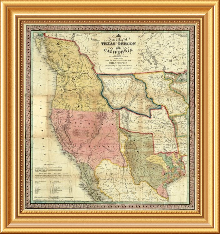 East Urban Home A New Map Of Texas Oregon And California 1846