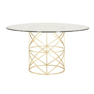 X Motif Dining Table with Glass Top