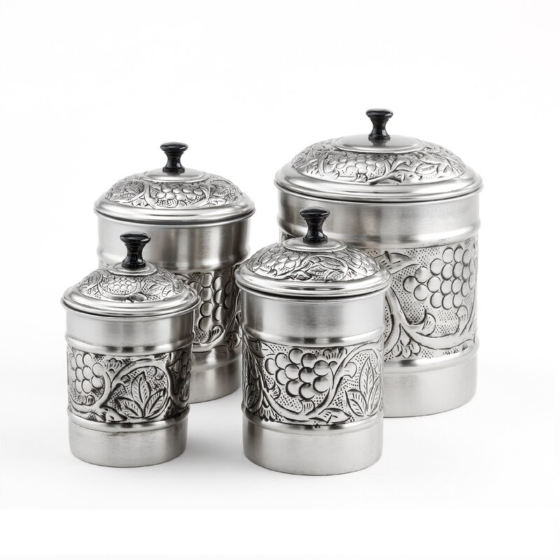 old dutch heritage embossed 4 piece kitchen canister set