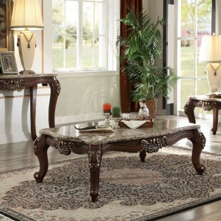 Arvilla Traditional Rectangular Wood and Marble Coffee Table by Astoria Grand