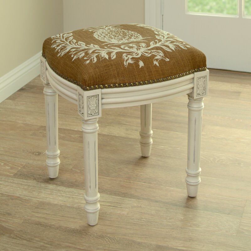 123 Creations Pineapple Linen Upholstered Vanity Stool With Nailhead