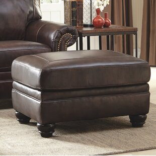 Baxter Springs Leather Ottoman by Darby Home Co