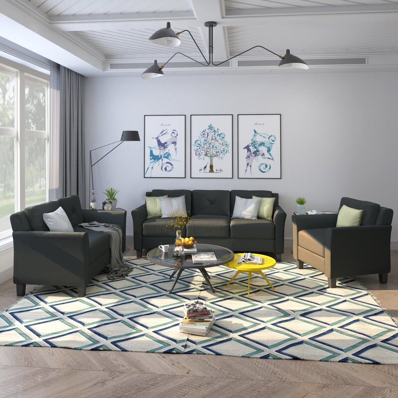 Red Barrel Studio Button Tufted 3 Piece Standard Living Room Set