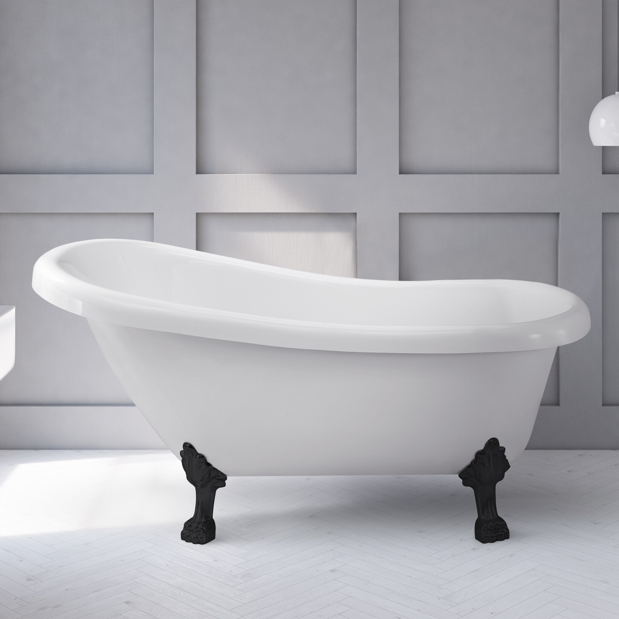 Streamlinebath 61 X 28 Clawfoot Soaking Acrylic Bathtub Reviews Wayfair