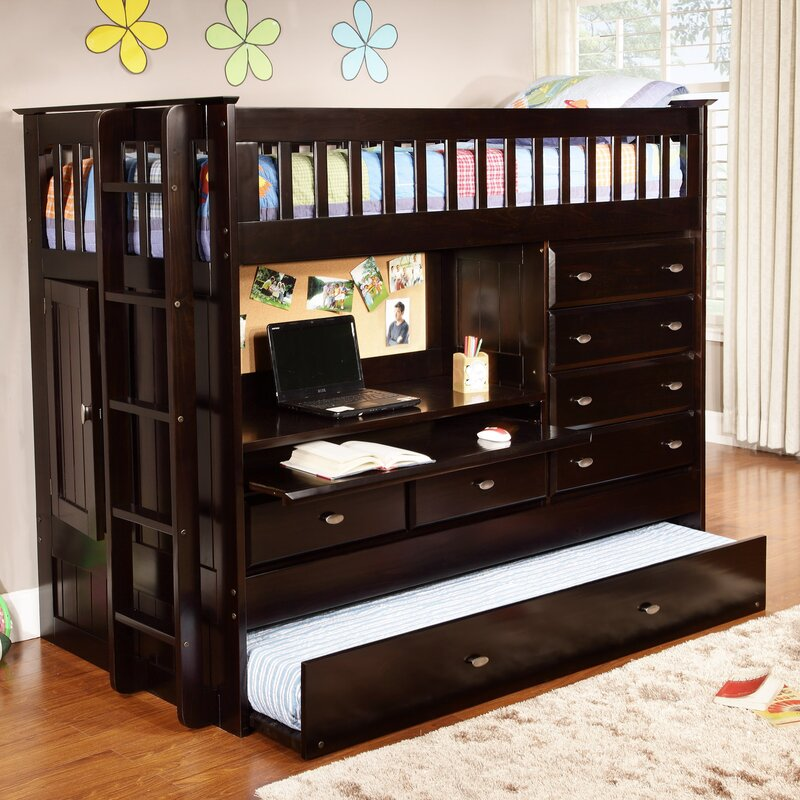Kaitlyn Twin Loft Bed with Trundle and Storage