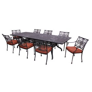 Laux 9 Piece Dining Set with Sunbrella Cushions