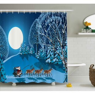 Christmas Santa Winter Forest Single Shower Curtain