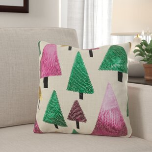 Fleishman Christmas Tree Sequin Throw Pillow