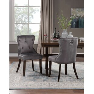 Walley Tufted Velvet Upholstered Parsons Chair in Gray Set of 4 by Rosdorf Park