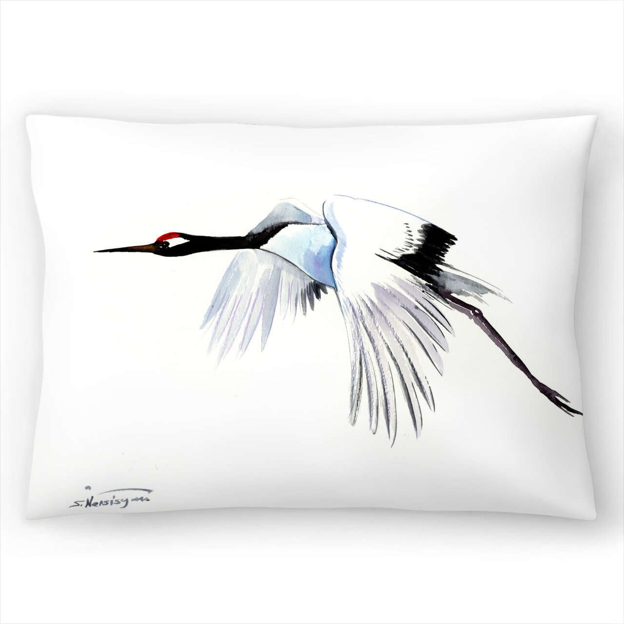 East Urban Home Japanese Crane Dance Lumbar Pillow Wayfair