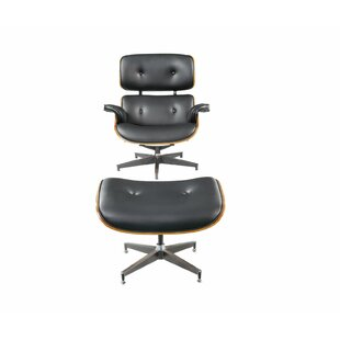Corrigan Studio Nettie 2 Piece Modern Swivel Lounge Chair and Ottoman