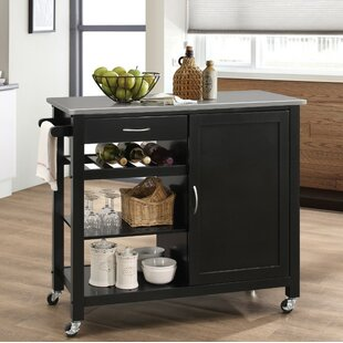 Rodrigue Kitchen Cart with Solid Wood Top Charlton Home