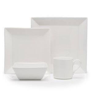 Plaza Vitrified China 16 Piece Dinnerware Set, Service for 4