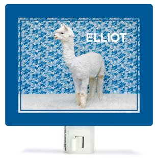 Oopsy Daisy Llama On Blue by Catherine Ledner Personalized Canvas Night Light
