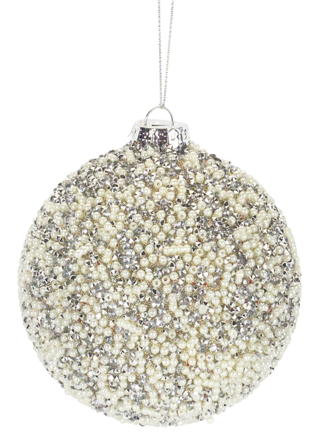 The Holiday Aisle Beaded Ball Ornament Set Of 6 4 5 H Glass Wayfair
