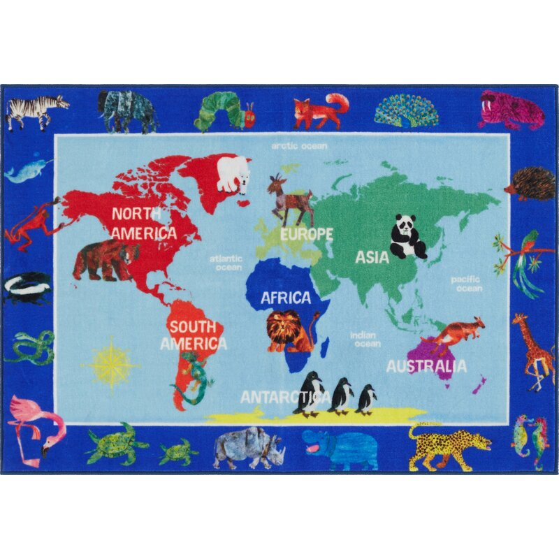 Eric carle world map educational blue area rug reviews wayfair world map educational blue area rug gumiabroncs Image collections