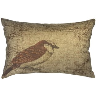 Camarena Brown Bird Linen Lumbar Pillow by August Grove Design