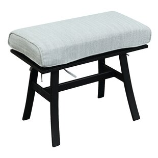 Ana Outdoor Teak Ottoman with Cushion by Bay Isle Home