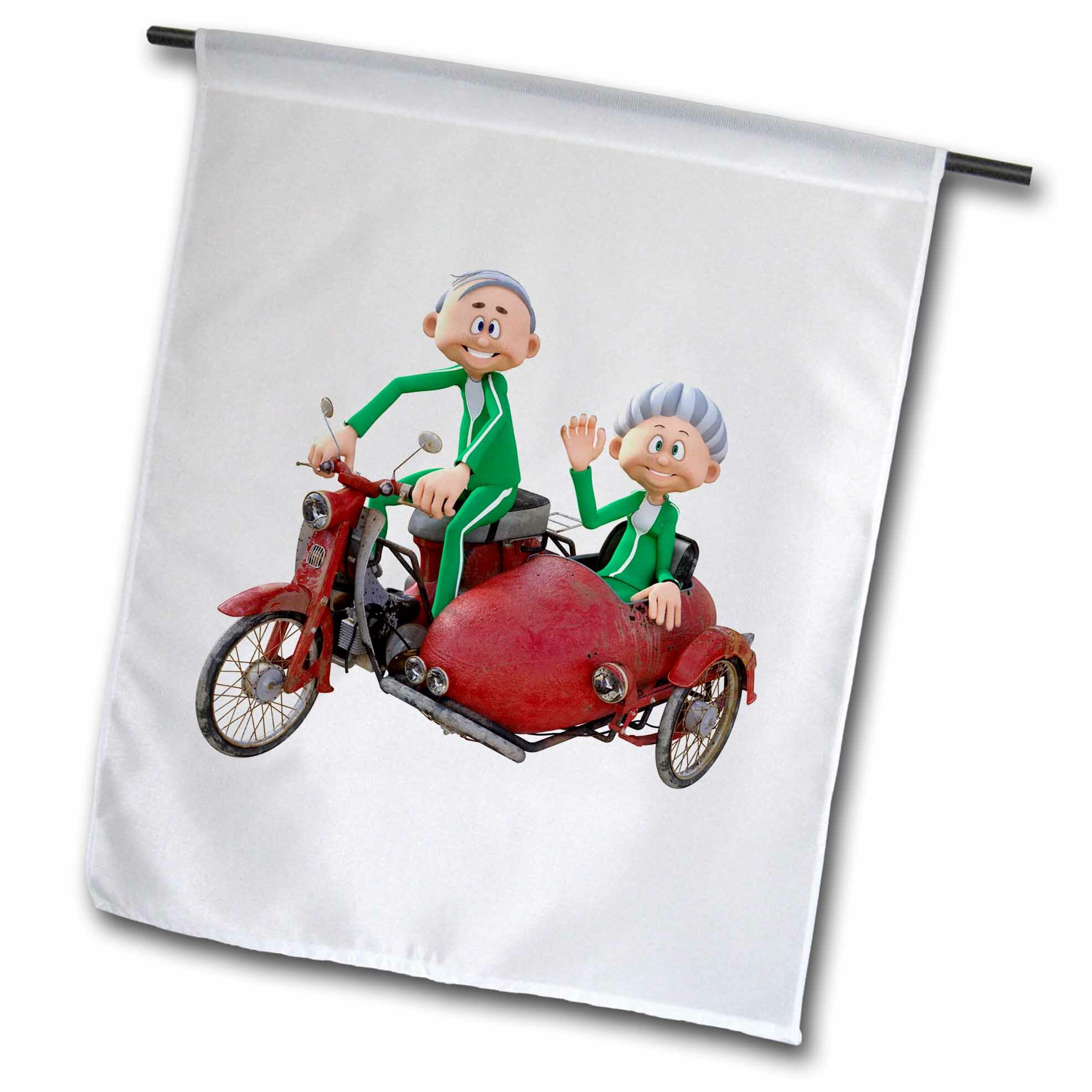 3drose A Cartoon Elderly Couple Riding A Scooter With A Sidecar Polyester 18 X 12 In Garden Flag Wayfair