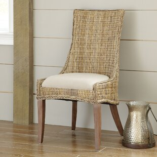 Caryville Wicker Upholstered Dining Chair (Set of 2) Rosecliff Heights