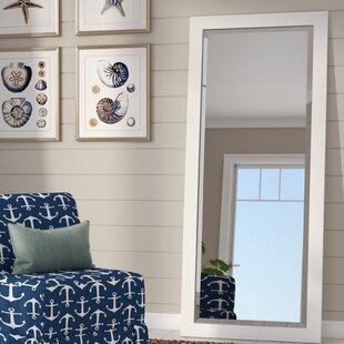 Beachcrest Home Fenton Beveled Satin White Wall Mirror
