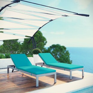 Coline Outdoor Patio Aluminum Sun Lounger Set with Cushions (Set of 2)