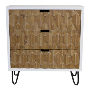 Yancy Natural Origami 3 Drawer Accent Chest by Foundry Select