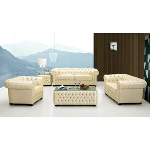 Medrano Leather Chesterfield Loveseat Canora Grey
