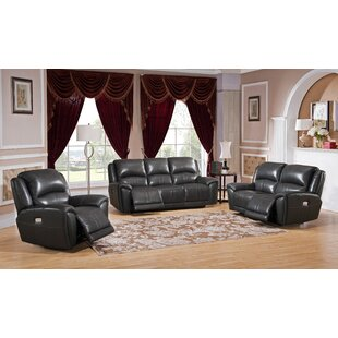 Mikel Reclining 3 Piece Leather Living Room Set Red Barrel Studio