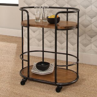Gracie Oaks Roussillon Industrial Wood Iron Bar Cart