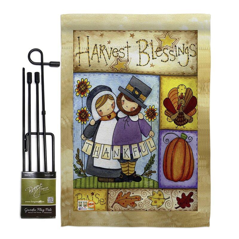 Breeze Decor Thankful Pilgrims Impressions 2 Sided Polyester 18 5 X 13 In Flag Set Wayfair