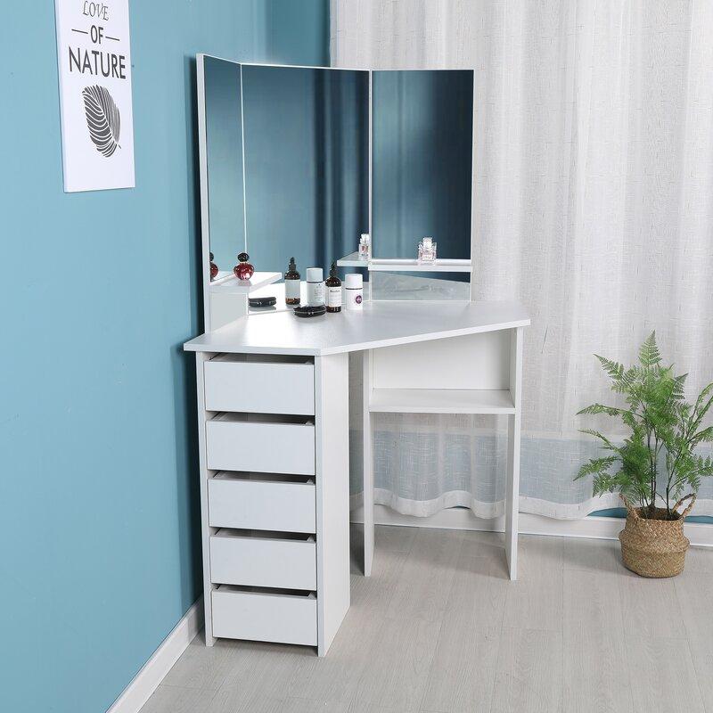 Merveilleux Trule Teen Cormier Corner Makeup Vanity With Mirror   Wayfair