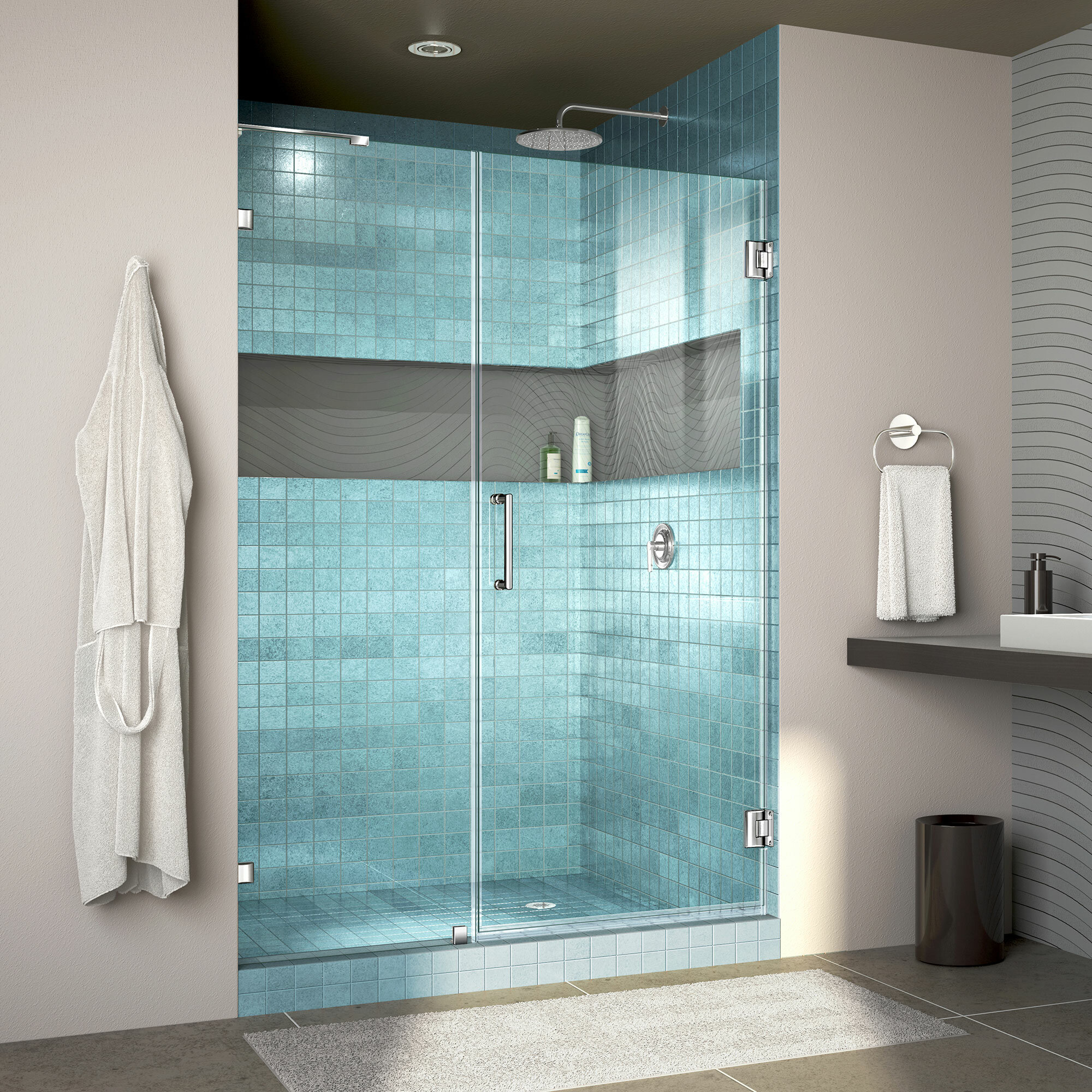 Unidoor Lux 48 X 72 Hinged Frameless Shower Door With Clearmax Technology